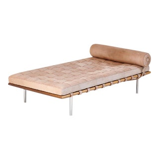 Barcelona Daybed by Mies Van Der Rohe for Knoll Suede Chaise Signed For Sale