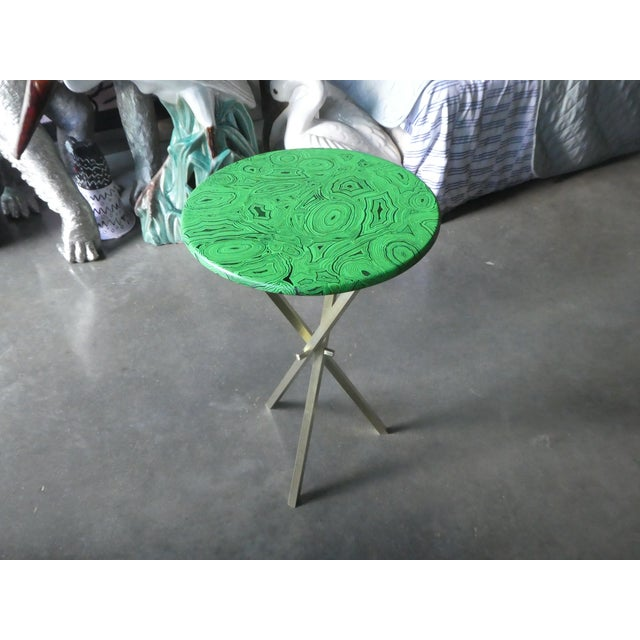 1960s Mid Century Faux Malachite Fornasetti Side Table For Sale - Image 9 of 10