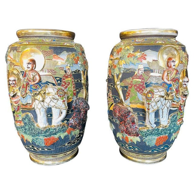 Pair of Antique Japanese Satsuma Vases Figural Scenes For Sale - Image 13 of 13