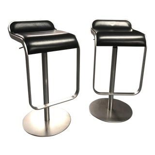 Design Within Reach Lem Black Leather Seat Piston Stools - a Pair
