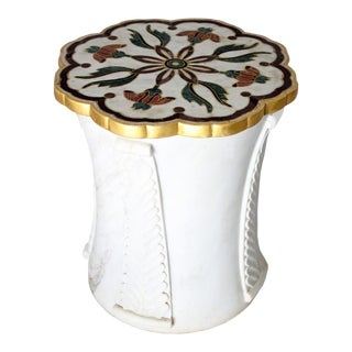 Mughal Side Table in White Marble For Sale