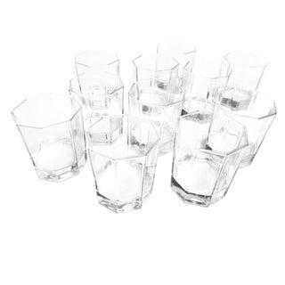1980s Contemporary Octagonal Geometric Rocks Glasses - Set of 11