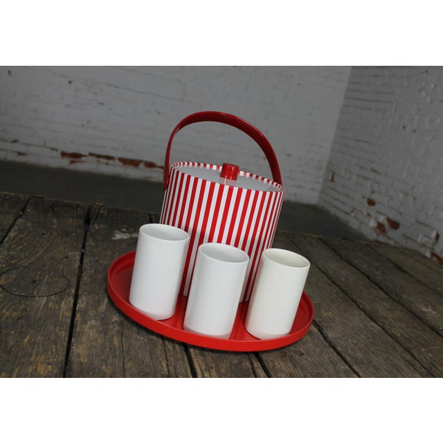 Jonathan Adler Mid-Century Red & White Ice Bucket, Tumblers and Tray Beverage Set For Sale - Image 4 of 11