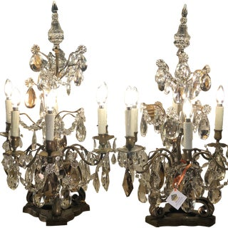 Pair of Massive Antique Baccarat Crystal Girandole Table Chandeliers For Sale