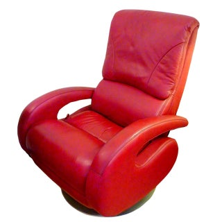 Red Leather Recliner by Lane For Sale