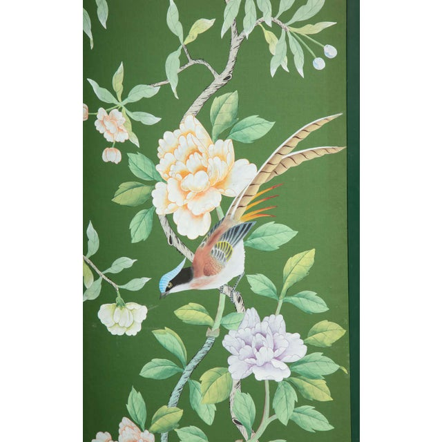 Green Chinoiserie Six-Panel Hand-Decorated Screen For Sale - Image 10 of 11