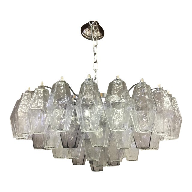 Violet and Clear Poliedro Murano Glass With Chrome Frame Sputnik Chandelier For Sale
