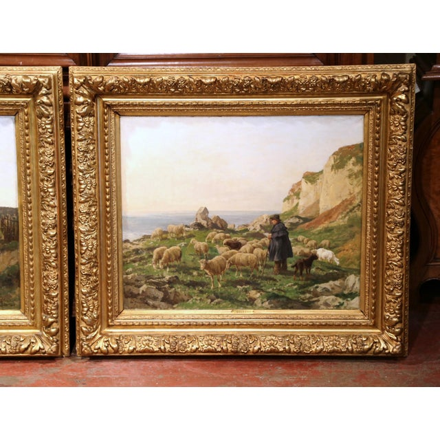 19th Century French Sheep Paintings in Gilt Frames Signed C. Quinton - a Pair For Sale - Image 4 of 11