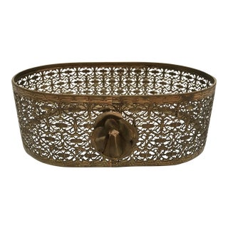 1920s Italian Brass Filigree Napkin Holder For Sale