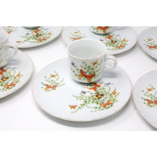 "Country Vintage ""Ecstasy"" Butterflies Snack Plates and Cups by Shafford - Set of 12 For Sale - Image 3 of 11"