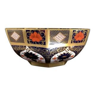 Royal Crown Derby Imari Solid Gold Band Octagonal Vegetable Bowl For Sale