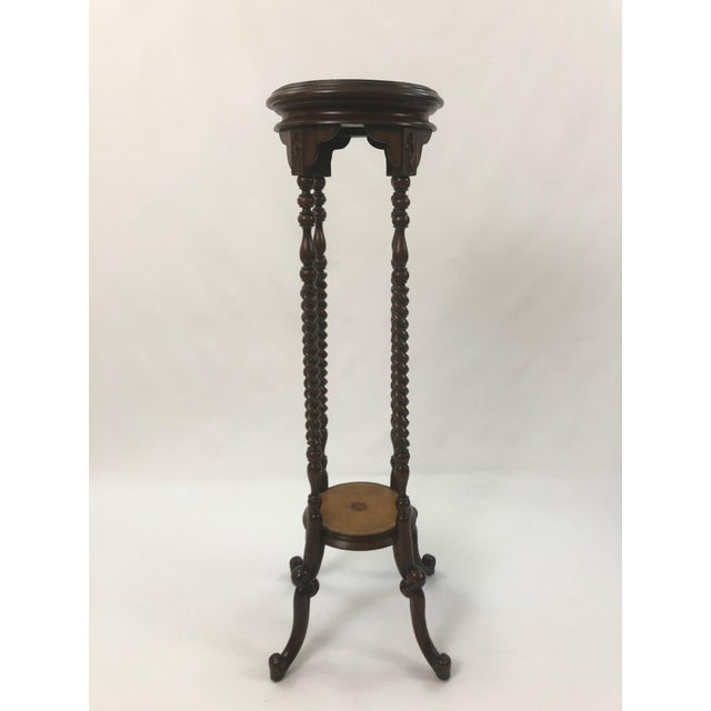 Maitland Smith Mahogany and Leather Top Stand For Sale - Image 9 of 9