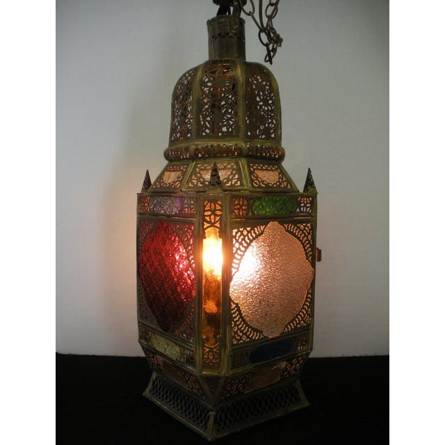 Moroccan Pierced Brass Hanging Lantern For Sale - Image 10 of 12