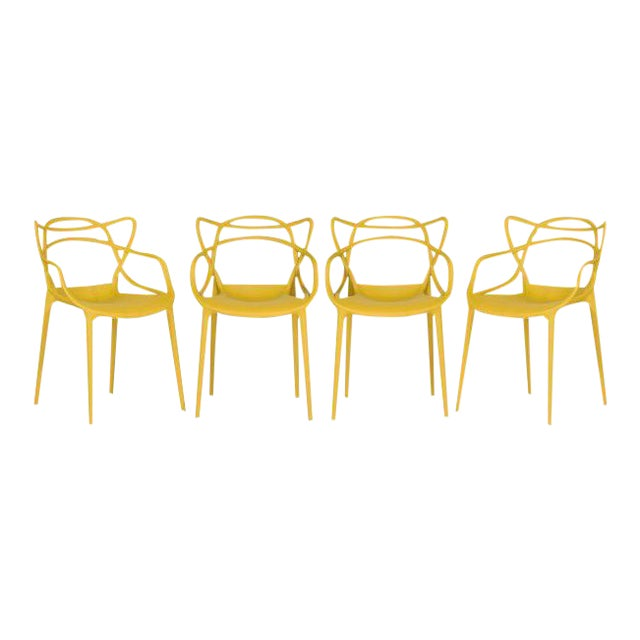 Kartell Mustard Yellow Masters Chairs - Set of 4 For Sale - Image 9 of 9