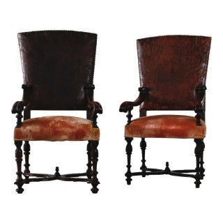 Pair of Leather Etched Spanish Chairs For Sale