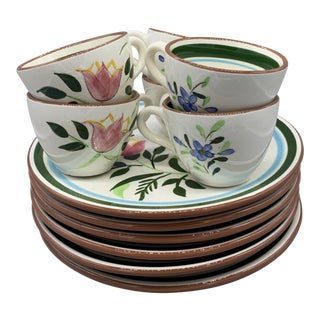 Stangl Pottery Country Garden Snack Set of 6 For Sale