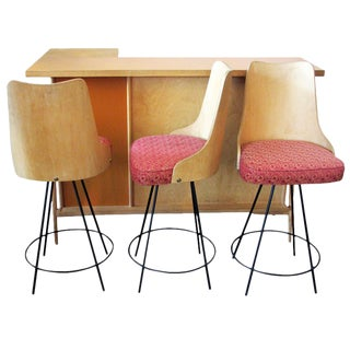 Bar with Matching Bent Wood Bar Stools