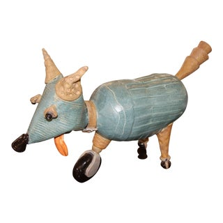 Terra-cotta Comic Caricature of a Dog on Wheels For Sale