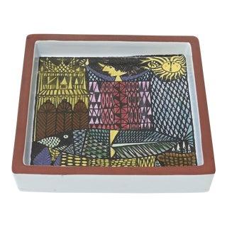 1960s Swedish Stig Lindberg Ceramic Square Bowl/ Dish For Sale