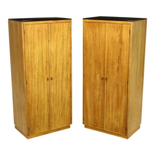 Pair Ash & Black Glass Narrow & Tall Cabinets For Sale