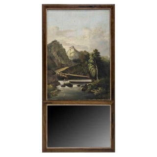 French Trumeau Mirror With Idyllic Pastoral Landscape For Sale