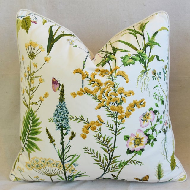 """Cottage Cotton & Linen Wildflower Feather/Down Pillow 24"""" Square For Sale In Los Angeles - Image 6 of 6"""