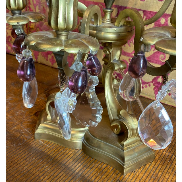 Glass French Girandoles With Crystals and Amethyst Drops - a Pair For Sale - Image 7 of 12