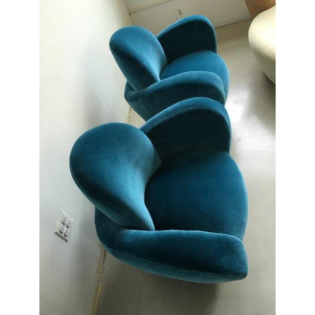 Mid-Century Modern Vladimir Kagan Blue Velvet Wrap Around Swivel Chairs, a Pair For Sale - Image 3 of 8