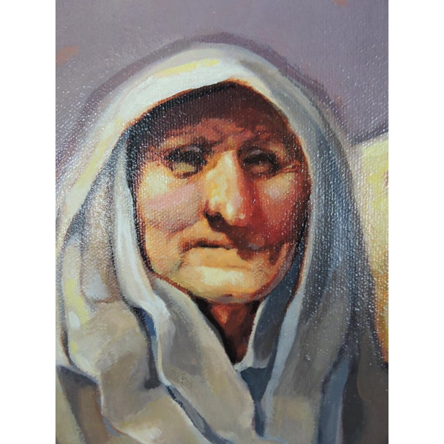 Late 20th Century 'The Market Sellers', Framed Oil Painting on Canvas For Sale In Tampa - Image 6 of 8
