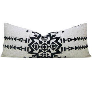 Black and White Pendleton® Wool Lumbar Pillow Cover For Sale