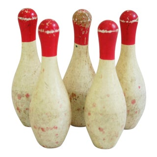 Vintage 1940s Child's Wood Bowling Pins - Set of 5