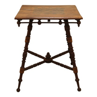 20th Century Victorian Oak Carved Parlor Game Table For Sale