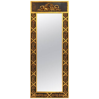 1940s Antique Neoclassical Black and Gold Decorated Wall Mirror For Sale
