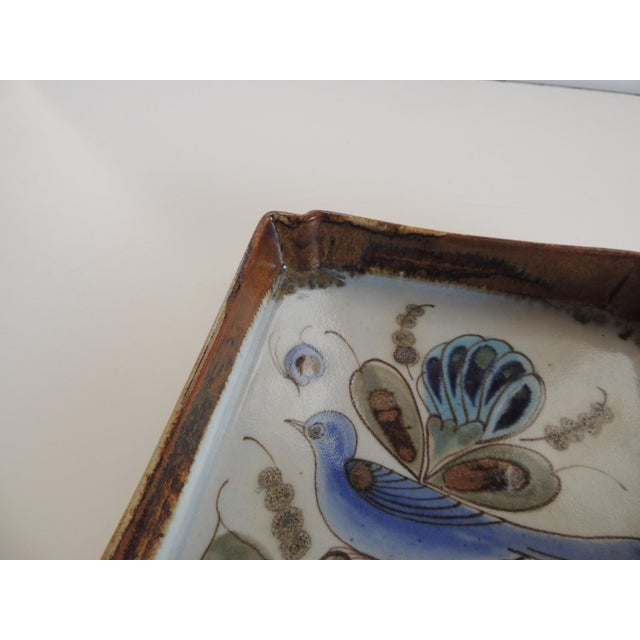 Boho Chic Vintage Talavera Hand Painted Ceramic Catchall Tray For Sale - Image 3 of 5