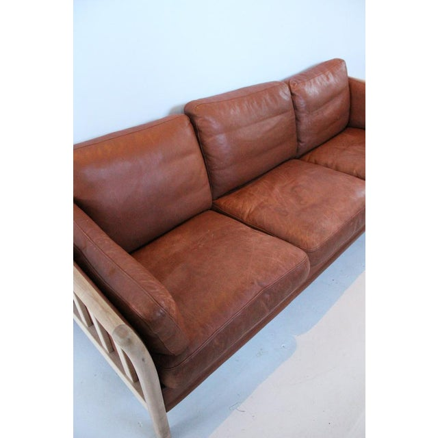 Mid-Century Leather Couch For Sale - Image 4 of 7
