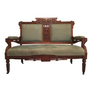 Hand Carved French Country Walnut Couch