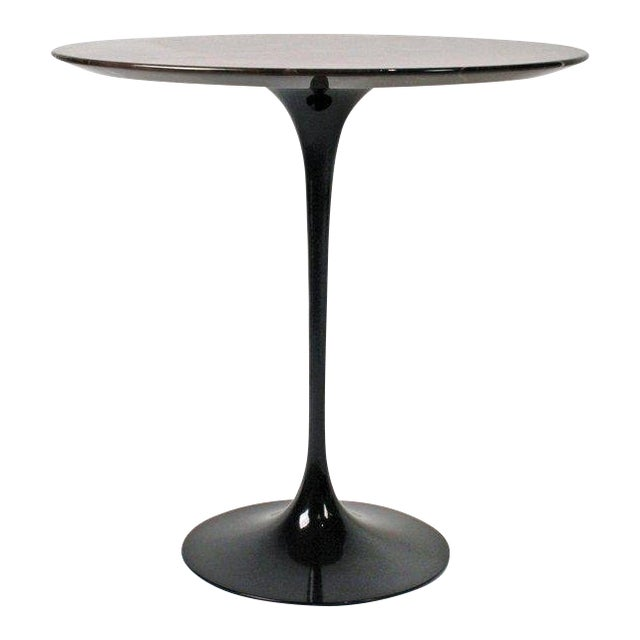 Eero Saarinen Side Table for Knoll With Polished Espresso Marble Top For Sale