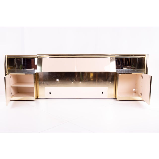Mid-Century Modern Ello Mid Century Brass and Glass Queen Headboard and Nightstands For Sale - Image 3 of 5