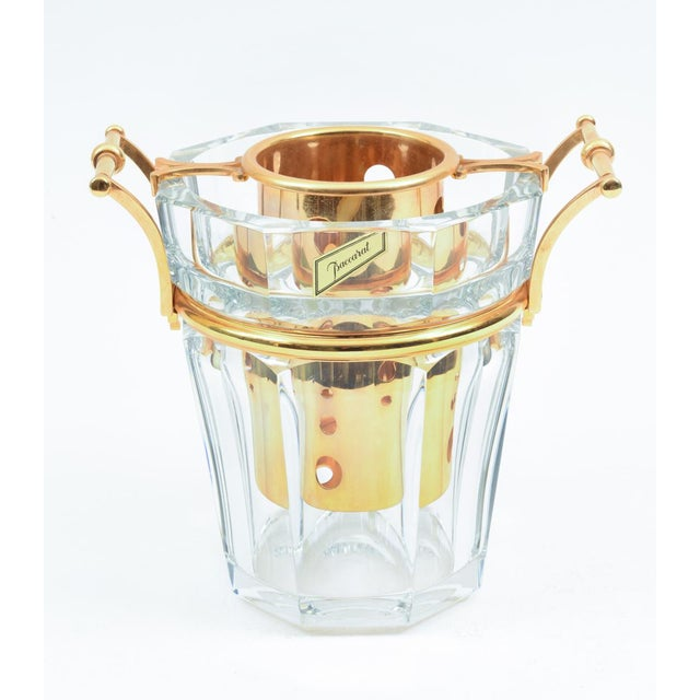 Beautiful Baccarat crystal Champagne / wine cooler bucket, with gilded bronze mounted fittings bottle holder and sides...