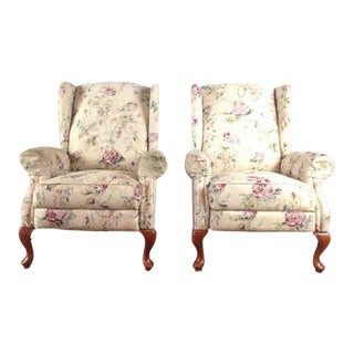 Floral Upholstered Reclining Wingback Chairs - A Pair