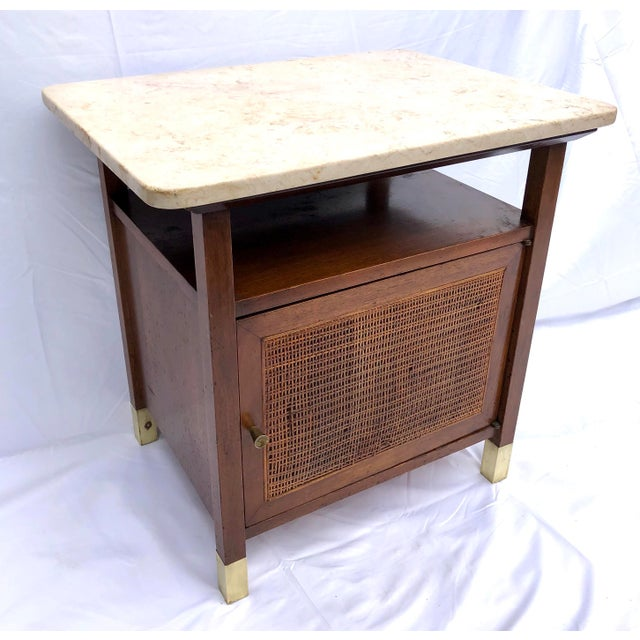 Brass Mid-Century Modern Paul McCobb Manner Walnut Side Table For Sale - Image 7 of 11