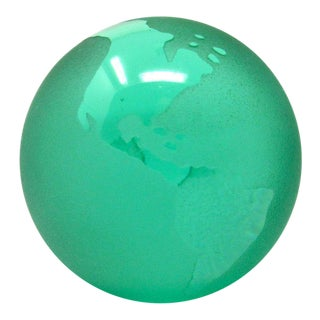 Vintage Silvestri Emerald Green Glass World Globe Paper Weight For Sale