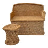 Image of 1970s Vintage Boho Chic Wicker Rattan Woven Settee & Stool For Sale