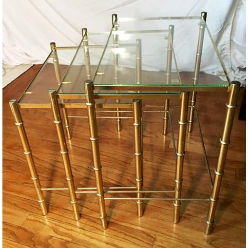 Hollywood Regency Faux Bamboo Brass & Glass Nesting Tables - S/3 - Image 2 of 6