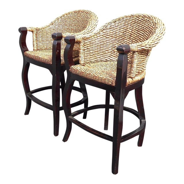 Tiki Palm Beach Style Woven Wicker Bar Stools - A Pair - Image 1 of 11