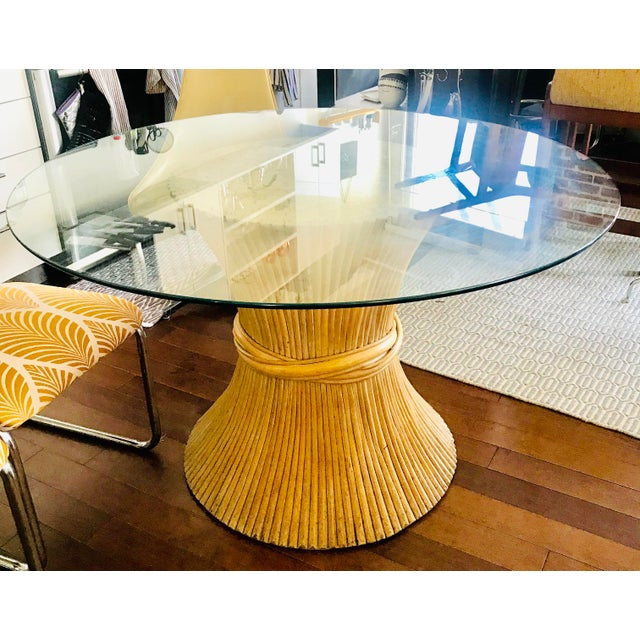 Boho Chic 1980s Hollywood Regency Sheaf of Wheat Bamboo Pedestal Dining Table For Sale - Image 3 of 7