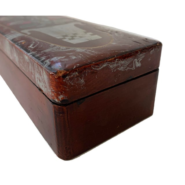 Oxblood Red Vintage Lacquer Gloves Jewelry Box Hand Painted For Sale - Image 8 of 9