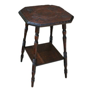 Antique English Oak Table Queen Victoria Side Table For Sale