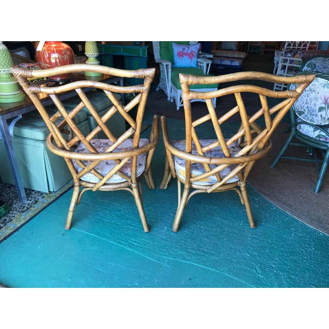 Vintage Chippendale Rattan Chairs-Pair For Sale - Image 4 of 10