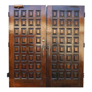 1950s Vintage Tudor Style Paneled Double Doors- A Pair For Sale